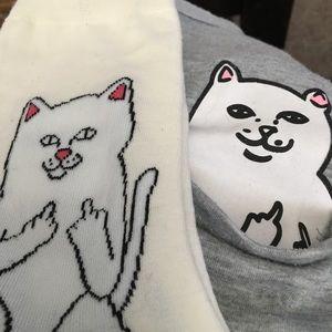 Tops - CAT SHIRT & SOCKS  funny hidden NAUGHTY pocket